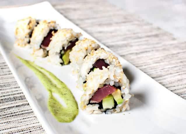 seared tuna roll with basil sauce recipe - Love and Lemons