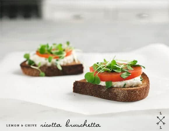 lemon & chive ricotta bruschetta recipe - Love and Lemons