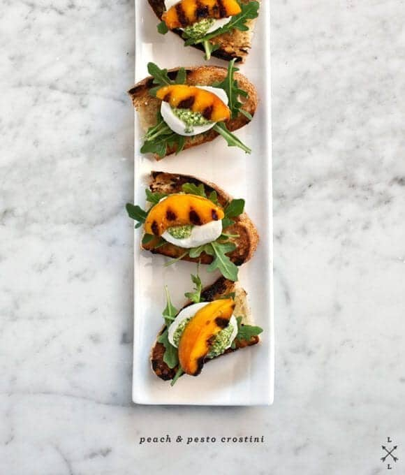 peach & pesto crostini recipe - Love and Lemons