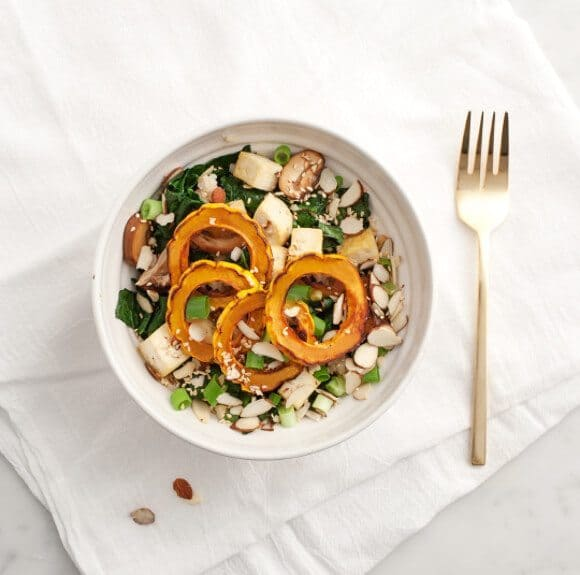 roasted delicata squash veggie bowl