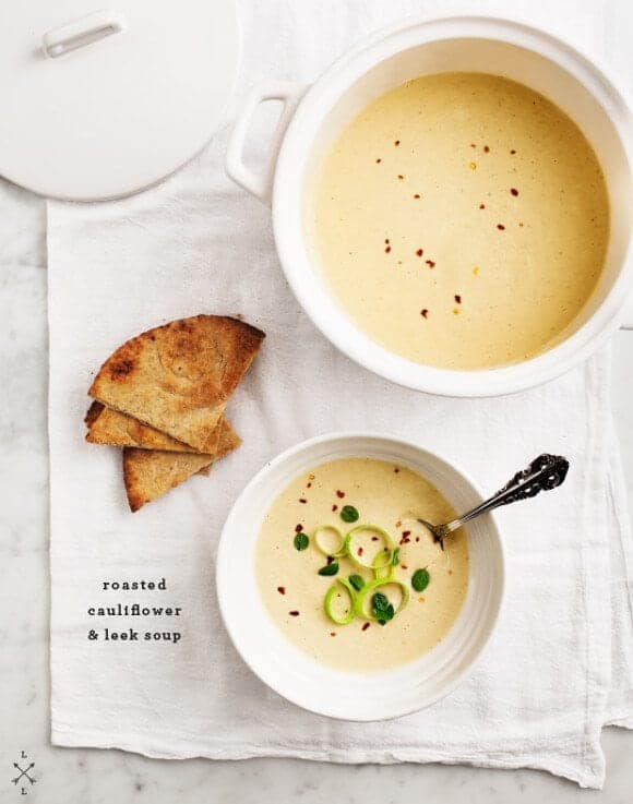 roasted cauliflower & leek soup
