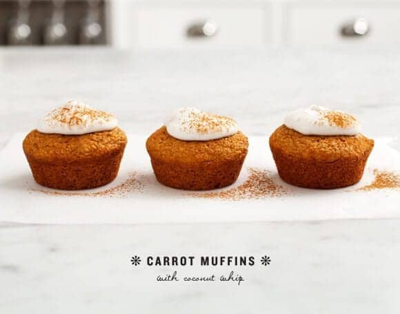 carrot muffins with coconut whip