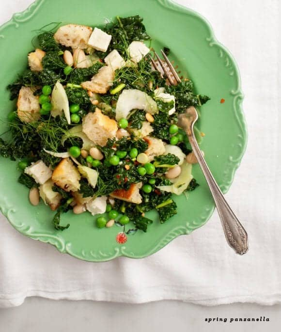 spring kale panzanella
