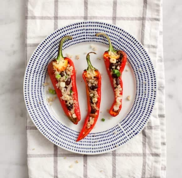 Quinoa stuffed peppers w/ Chipotle cashew cream