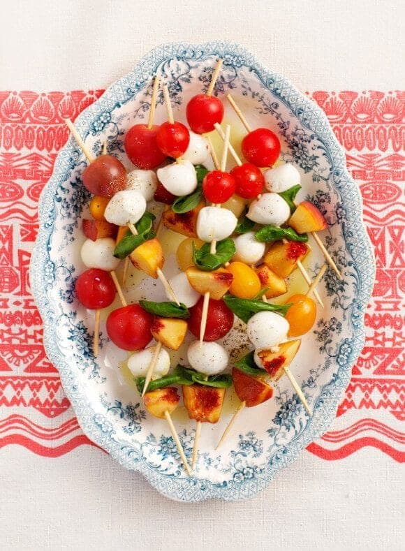 tomato basil & peach skewers