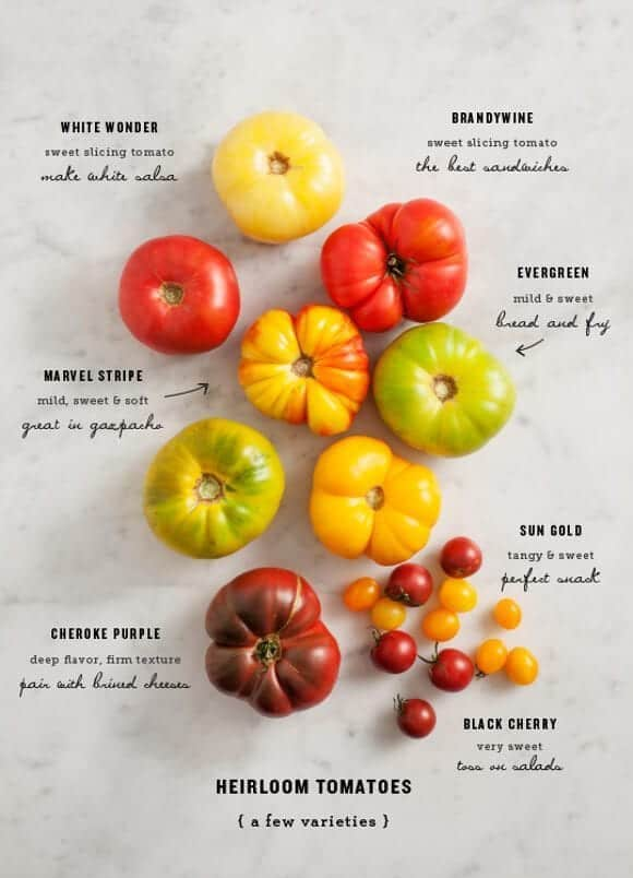 heirloom tomato varieties / loveandlemons.com