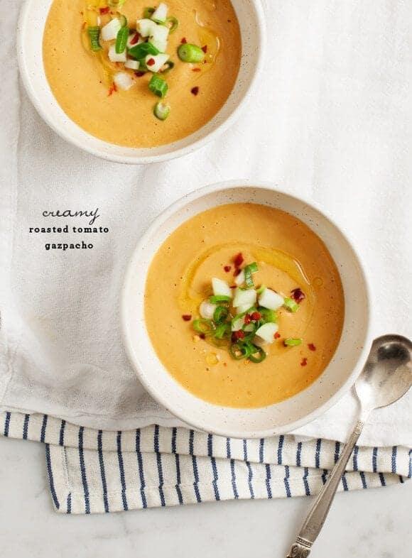 Creamy Roasted Tomato Gazpacho Recipe - Love and Lemons