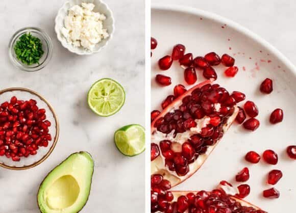 avocado pomegranate crostini / @loveandlemons