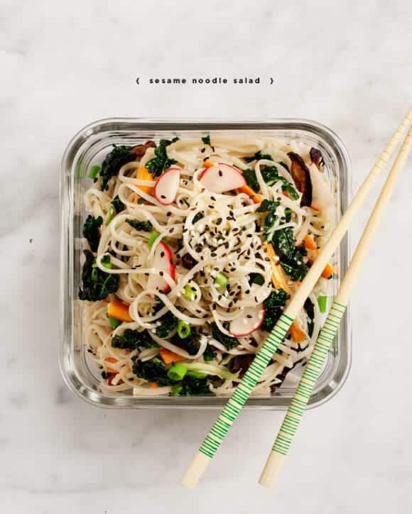 Cold Sesame Noodles w/ Kale & Shiitakes Recipe - Love and Lemons