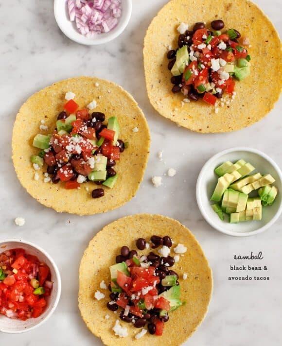 sambal, black bean & avocado tacos / loveandlemons.com