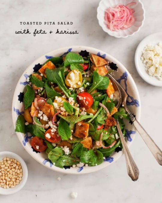 Feta & Harissa Fattoush Salad Recipe - Love and Lemons