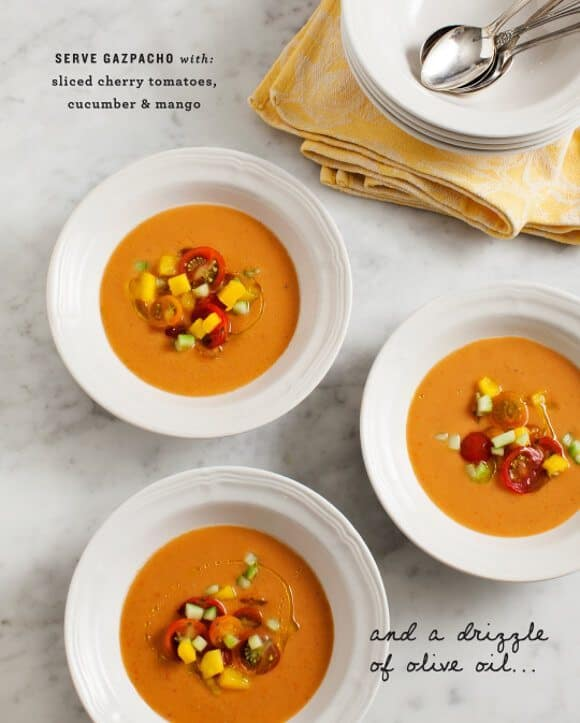 Anna's tomato gazpacho with mango and cucumber