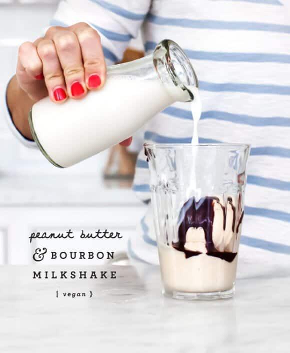 vegan peanut butter bourbon milkshake