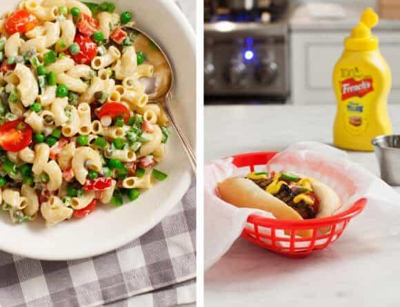 Portabello Pups and Macaroni Salad / @loveandlemons