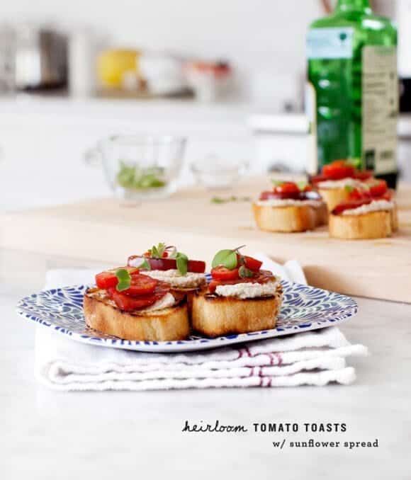 heirloom tomato sun-cheese toasts