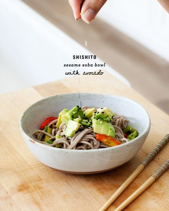 soba noodles with shishitos and avocado / @loveandlemons