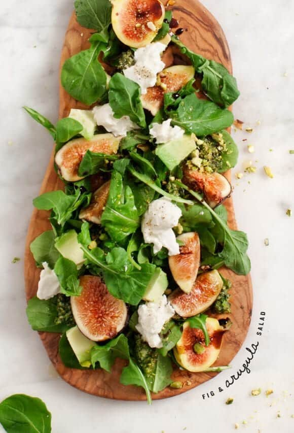 fig & arugula salad w/ pistachio pesto