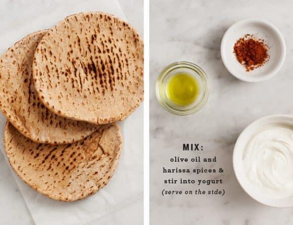 harissa spiced fall veggie pitas / @loveandlemons