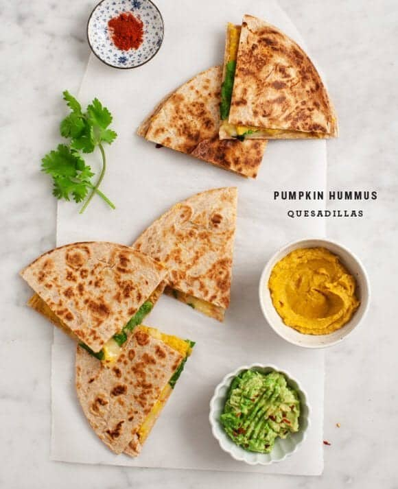 Pumpkin Hummus Quesadillas / @loveandlemons