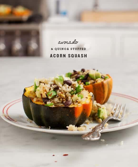 Quinoa Stuffed Acorn Squash - Acorn squash filled with avocado, quinoa ...