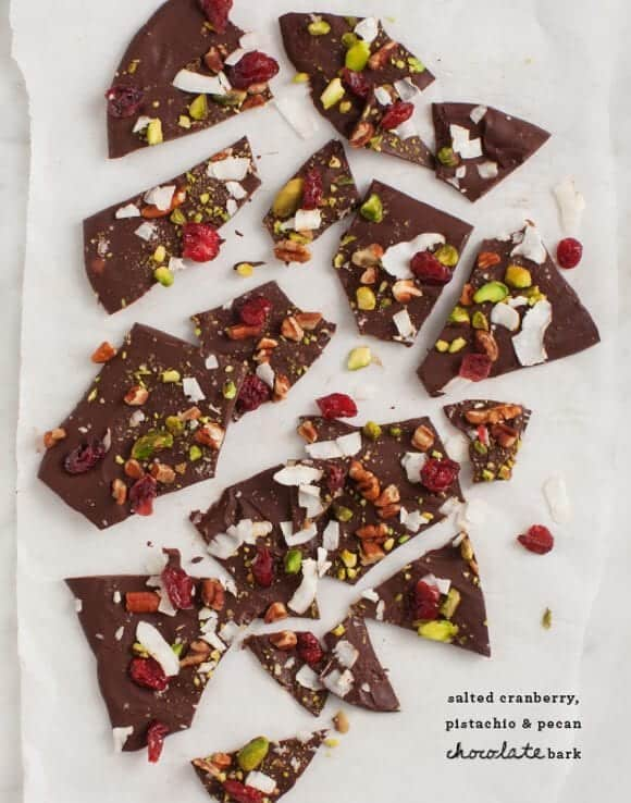 Edible gift ideas - Cranberry and pistachio chocolate bark