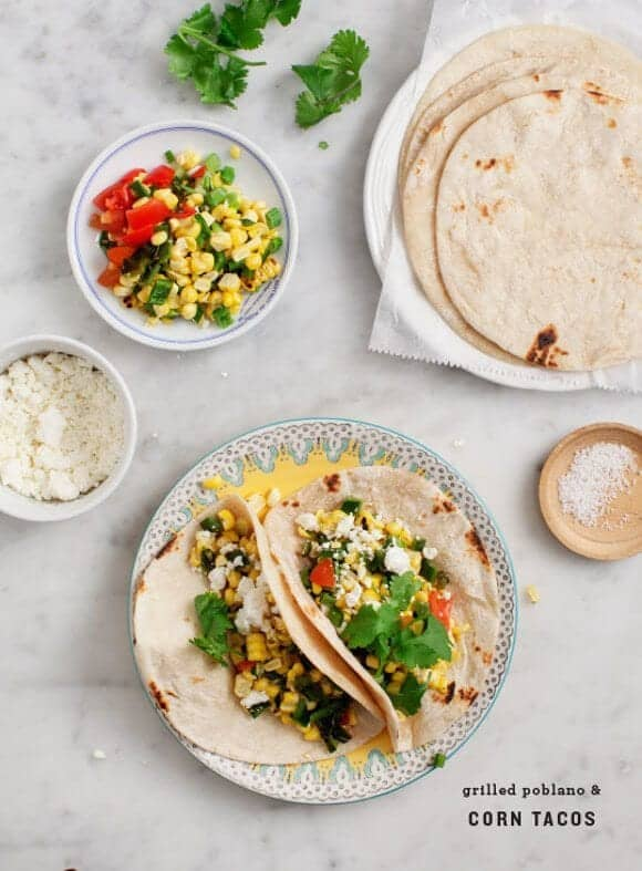 Grilled Poblano and Corn Tacos / @loveandlemons