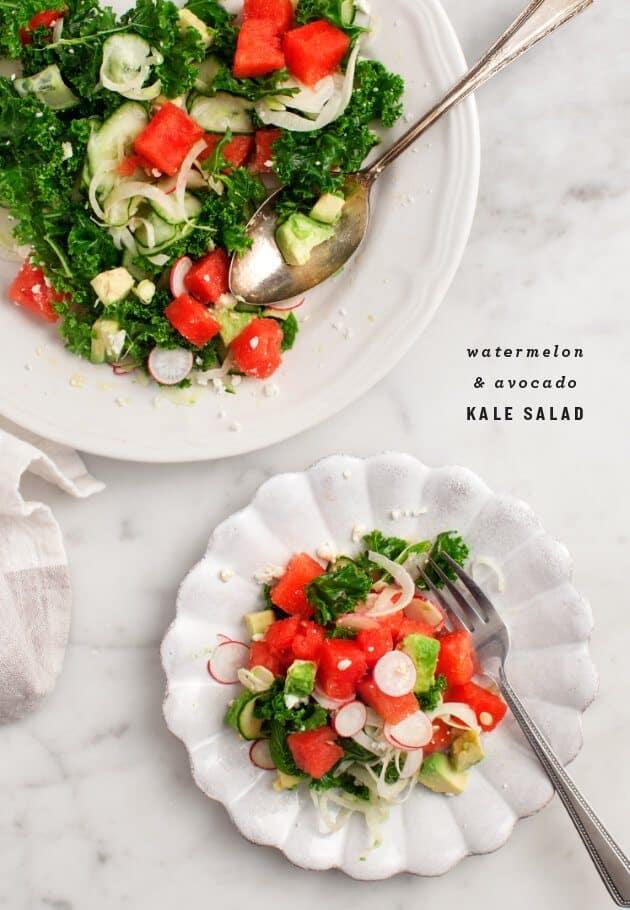 Watermelon & Avocado Kale Salad / loveandlemons.com