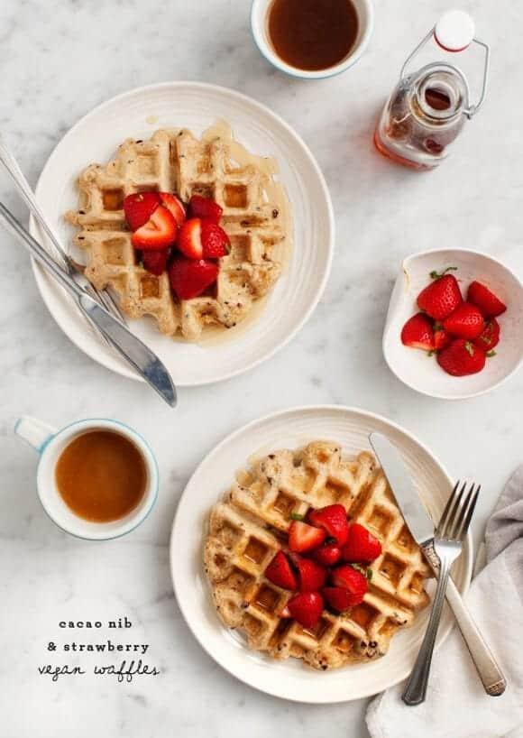 Cacao Nib & Strawberry Vegan Waffles / loveandlemons.com
