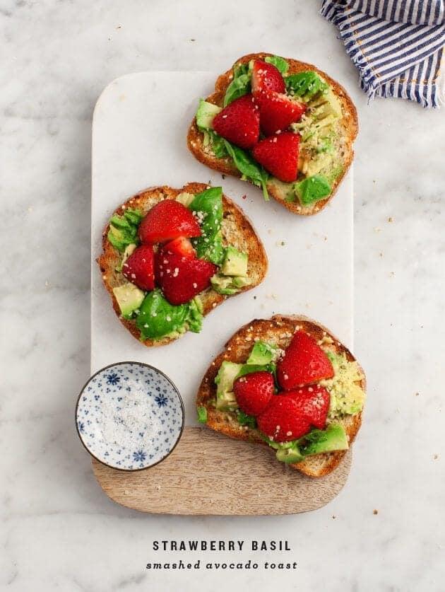 Strawberry Basil Smashed Avocado Toast / loveandlemons.com