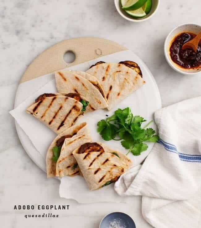 Erin's Adobo Grilled Eggplant Quesadillas / loveandlemons.com