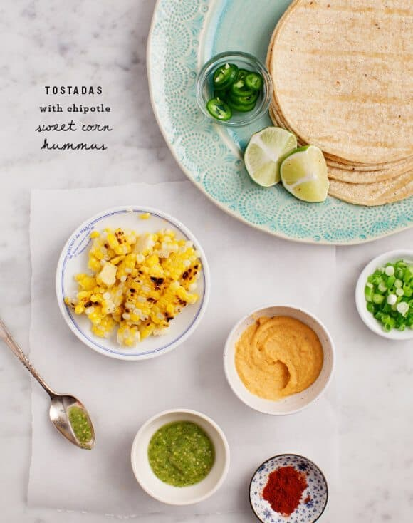 Tostadas with Smoky Sweet Corn Hummus / loveandlemons.com