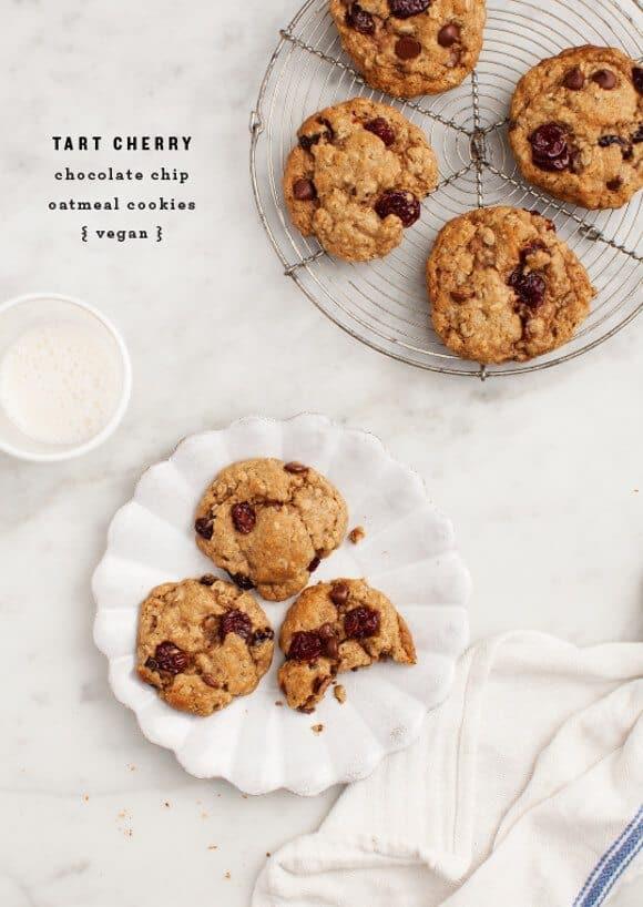 Vegan Cherry Chocolate Oatmeal Cookies / loveandlemons.com