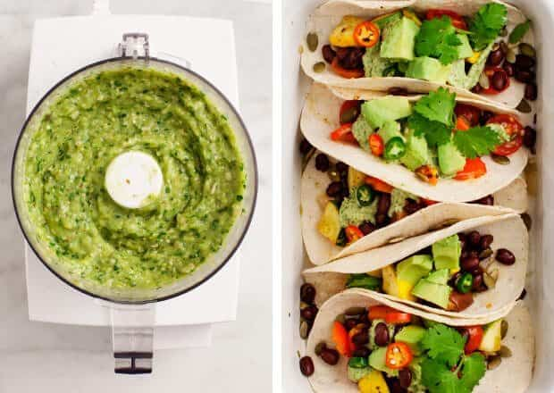 Roasted Vegetable Tacos with Creamy Avocado Tomatillo Salsa / loveandlemons.com