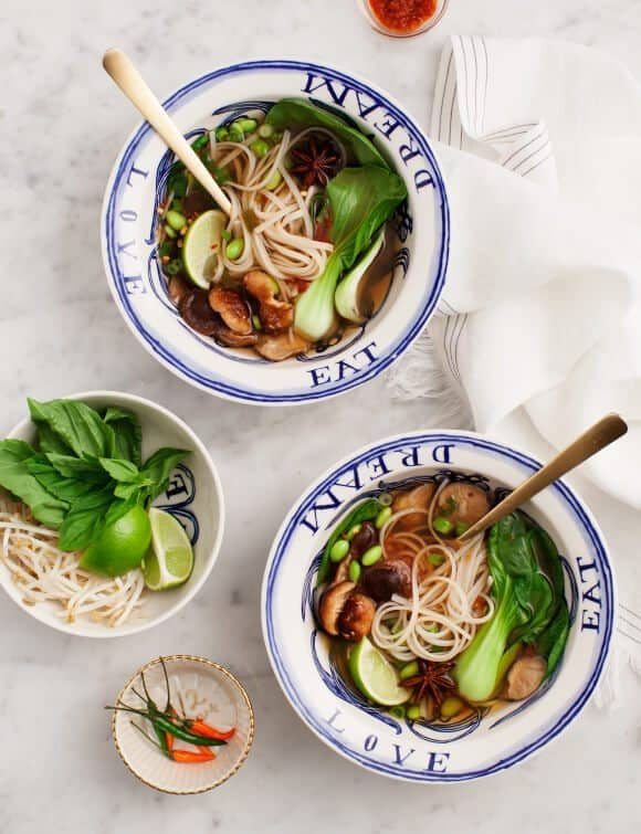 Easy Vegetarian Pho with Mushrooms & Bok Choy
