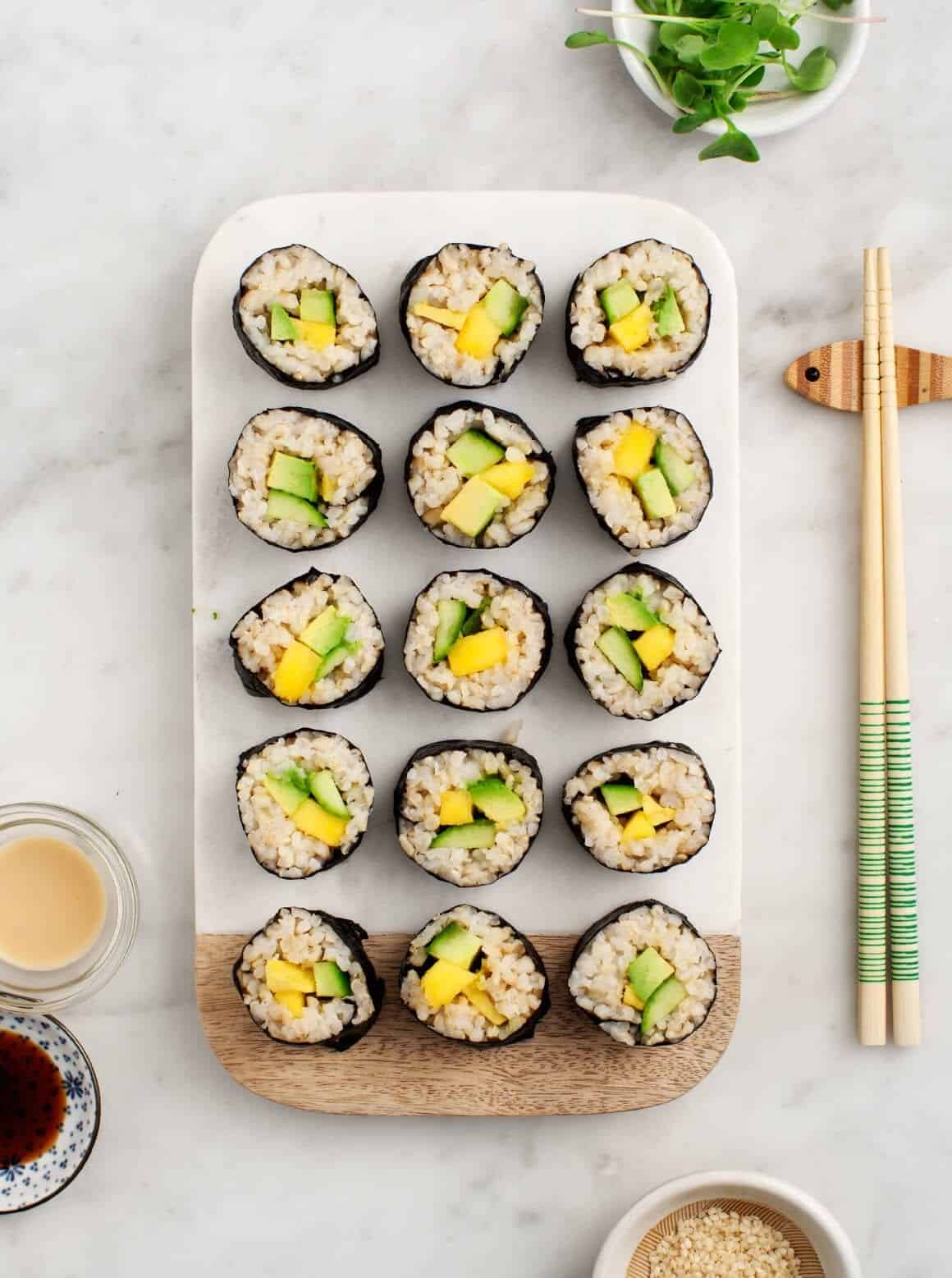 Vegetarian Brown Rice Sushi Rolls Recipe — Dishmaps