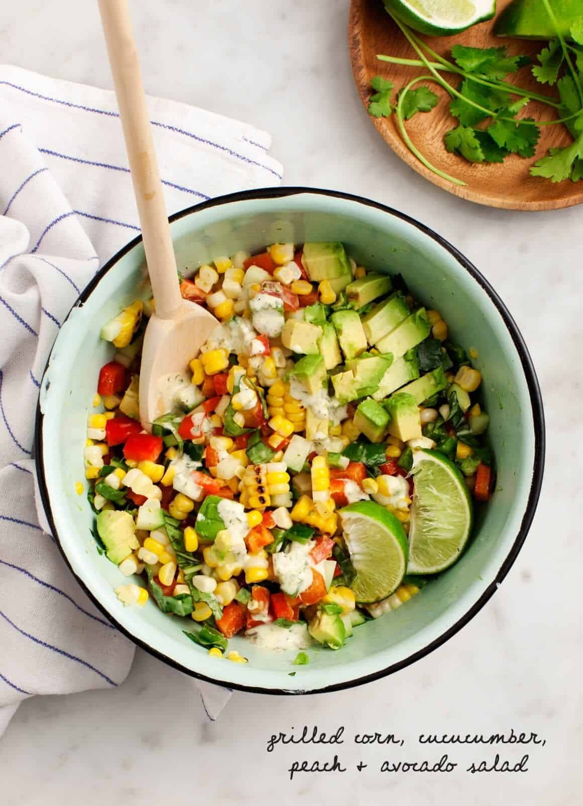 Corn, Cucumber, Peach & Avocado Salad Recipe - Love and Lemons