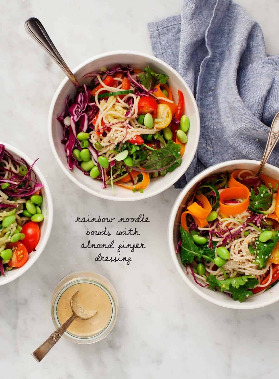 Rainbow Noodle Bowls w/ Almond Dressing