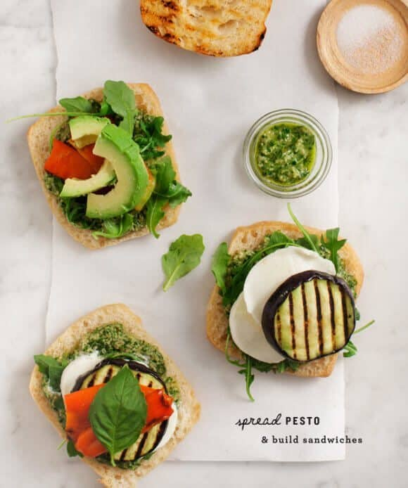 Grilled Eggplant Pesto Sandwiches