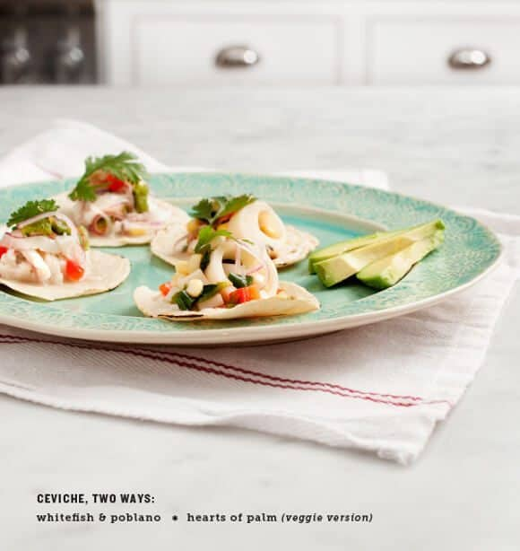 mini ceviche tacos, two ways (vegetarian & pesca)