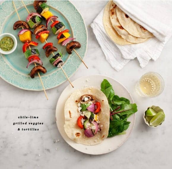 chile-lime grilled veggie skewers // loveandlemons.com