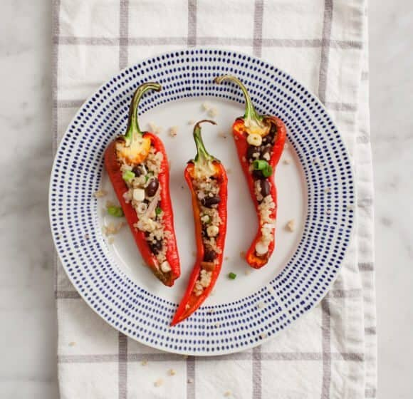 """Stuffed Peppers w/ Chipotle """"Cream"""" Recipe - Love and Lemons"""