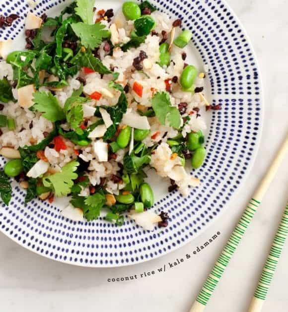 coconut rice with kale & edamame / @loveandlemons