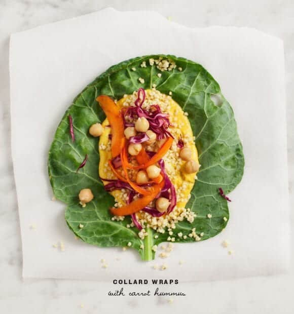 collard wraps with carrot hummus / @loveandlemons