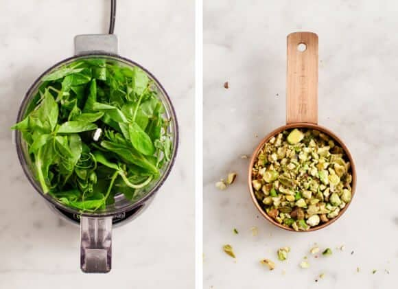 pea tendril pistachio pesto / loveandlemons.com