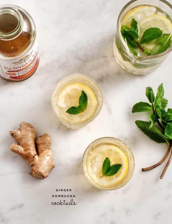 ginger kombucha cocktails / loveandlemons.com