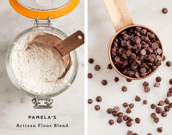 chocolate pecan skillet cookies (gluten free) / @loveandlemons