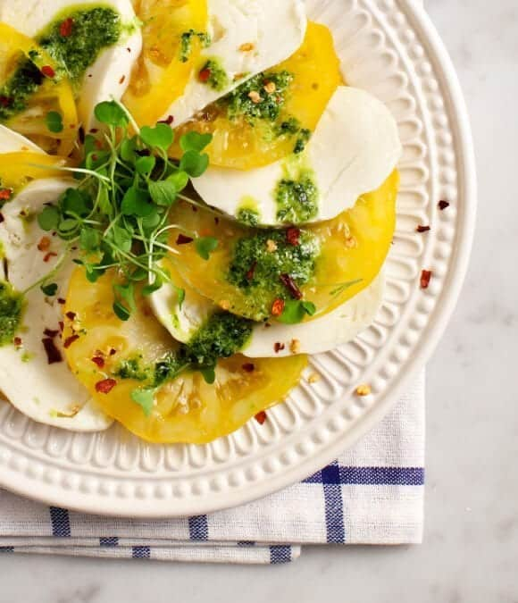 heirloom caprese with mint pesto / @loveandlemons