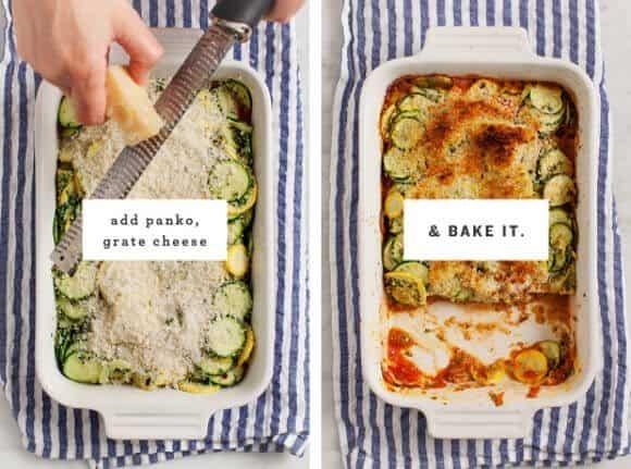 Crispy Pesto Baked Zucchini / @loveandlemons