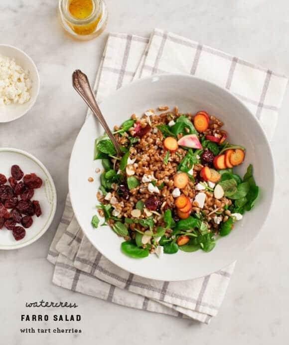 Watercress Farro Salad with Tart Cherries / www.loveandlemons.com