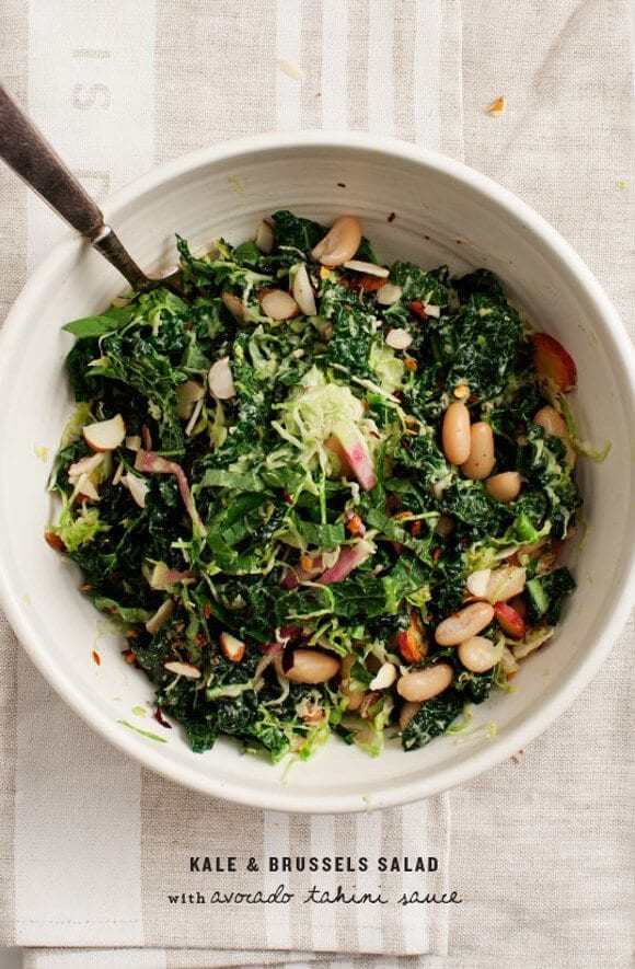 Kale Salad with Avocado Tahini Sauce / loveandlemons.com